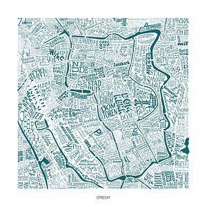 Utrecht als plattegrond met straatnamen en meer! van Vol van Kleur