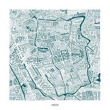 Utrecht als Karte mit Straßennamen und mehr! von Vol van Kleur