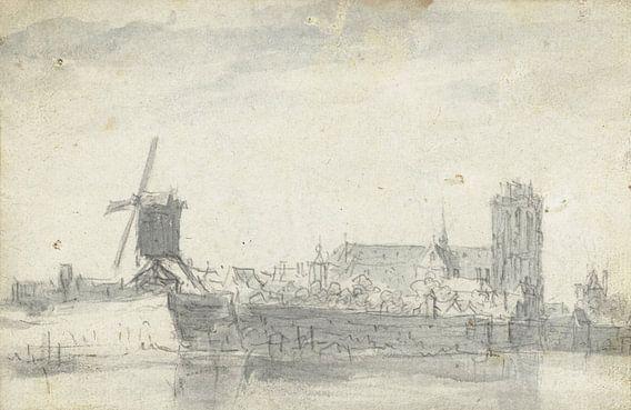 Gezicht op Dordrecht vanaf het water, Jan van Goyen (mogelijk), 1647 van Meesterlijcke Meesters