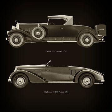 Cadillac V16 Roadster 1930 en Alfa Romeo 6C 2300 Pescara 1934