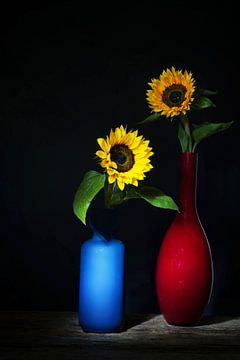 Sommer, sonniges Stilleben mit Sonnenblumen von Saskia Dingemans