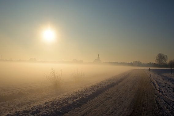 Zon op winterochtend