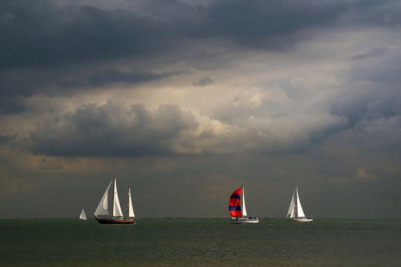 Zeilschepen op het IJsselmeer. van Alice Berkien-van Mil