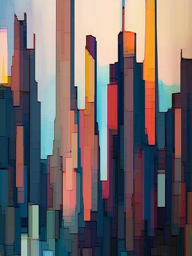 19. City-art, Abstract, skyscrapers, NY. van Alies werk