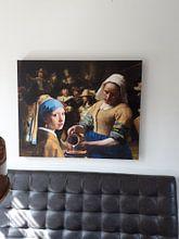 Klantfoto: Meisje met de parel - Melkmeisje -  De Nachtwacht 2 van Lia Morcus, op canvas