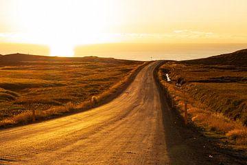 Isländische Straße bei Sonnenuntergang. von Summer van Beek