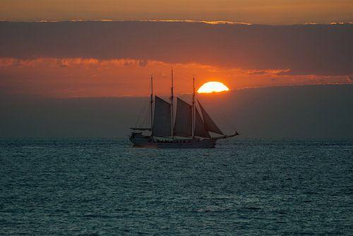 Varen richting de zonsondergang