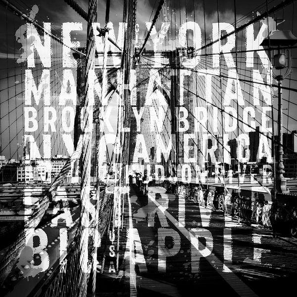 NYC Brooklyn Bridge Typografie No1 van Melanie Viola