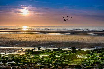 Zonsondergang aan de Opaalkust, Frankrijk van Rietje Bulthuis