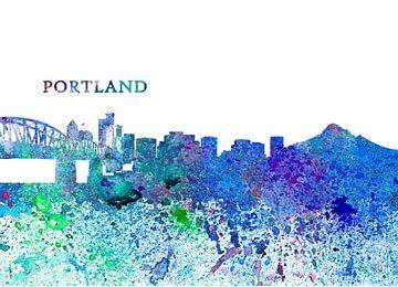 Portland Oregon Skyline Silhouette Impressionistisch van Markus Bleichner
