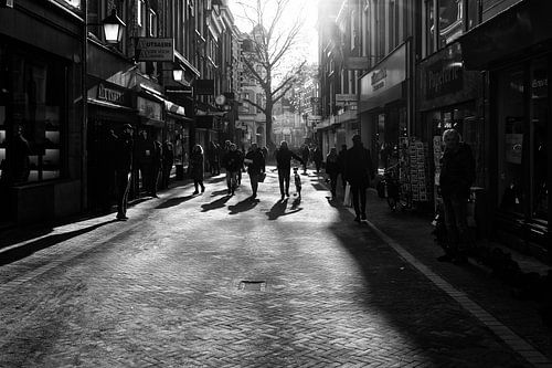 Tegenlichtopname gemaakt in de Choorstraat in het centrum van Utrecht in zwartwit van