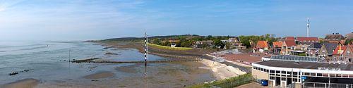 Oost-Vlieland, panorama van het dorp en de Waddenzee