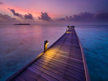 Pont courbe au coucher du soleil sur Denis Feiner