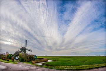 Noord Hollands landschap met molen  #2 van Arjen Schippers