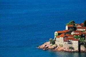 Schattig vissersdorpje. kleine huisjes met een pannendak en groene bomen aan de blauwe zee. geluk in