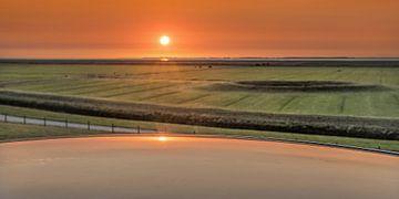 Coucher de soleil sur le Noorderleeg en Frise sur