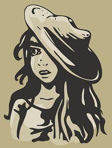 Bildnis Mädchen mit Hut - Sandfarbe