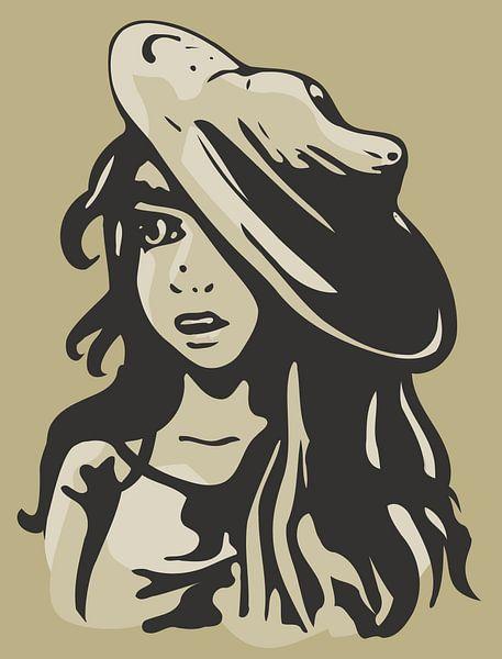 Bildnis Mädchen mit Hut - Sandfarbe von Emiel de Lange