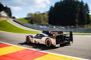Porsche 919 Hybrid  sports-prototype racing car in Eau Rouge