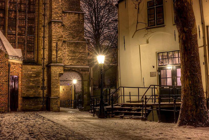 Historisch straatje in Gouda van Eus Driessen