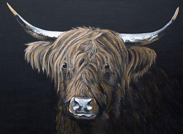 Gemälde Porträt Schottischer Highlander in Schwarz und Gold von Bianca ter Riet