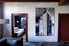 Kundenfoto: Tafel 1 der Diptychon-Mönche beim Baden von Elefanten von Johan Michielsen, auf alu-dibond