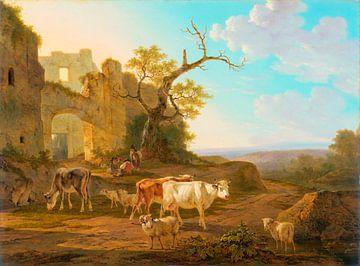 Landschap met koeien bij een ruïne, Jacob van Strij