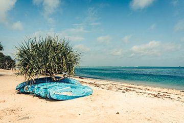 Kano's op het strand in Kuta, Lombok van Expeditie Aardbol