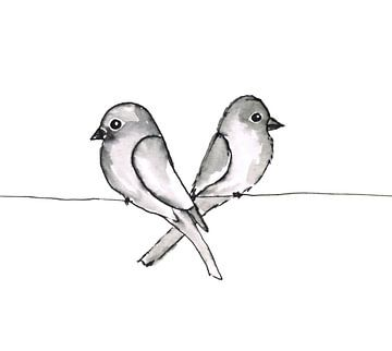 Deux petits oiseaux sur Bianca Wisseloo
