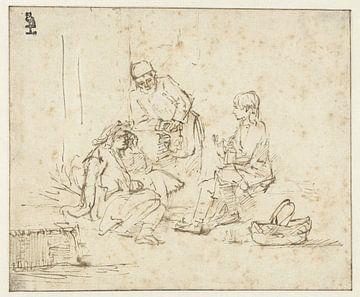 Joseph im Gefängnis erklärt die Träume des Spenders und des Bäckers Rembrandt van Rijn.