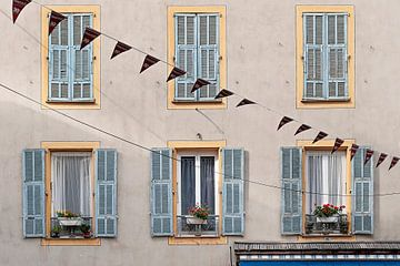 Franse gevel met luiken en bloemen van