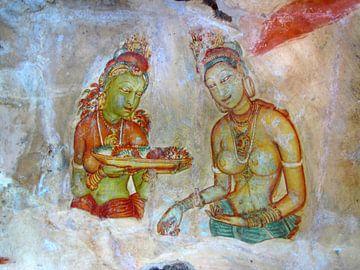Fresco van de maagden in de Leeuwenrots (Sigirya), Sri Lanka van Rietje Bulthuis
