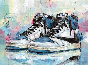 Nike air Jordan 1 Travis Scott x Fragment schilderij van Jos Hoppenbrouwers