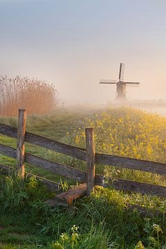 Sunrise with morningfog at the windmill sur Peter Halma
