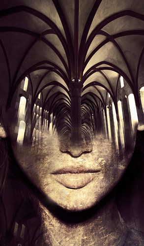 Arch way. Double exposure portrait van Dreamy Faces