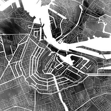 Amsterdam Nord und Süd | Stadtplan auf monochromem Aquarell von Wereldkaarten.Shop