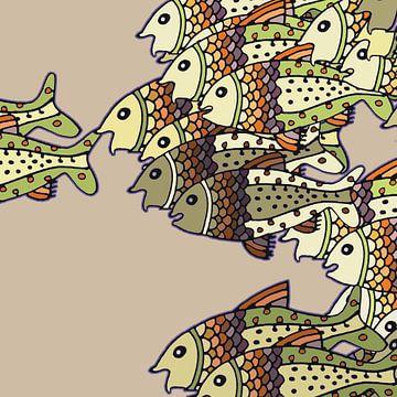 VISSEN grafische print in zachte natuurlijke kleuren van Marijke Mulder