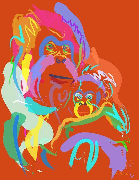 Orang-Utan Mutter und Baby von Go van Kampen