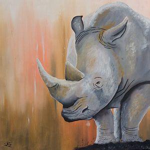 Neushoorn geschilderd