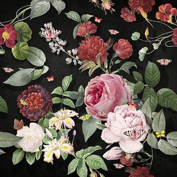 Oh, the Summers – Vintage Black Background. von Marja van den Hurk