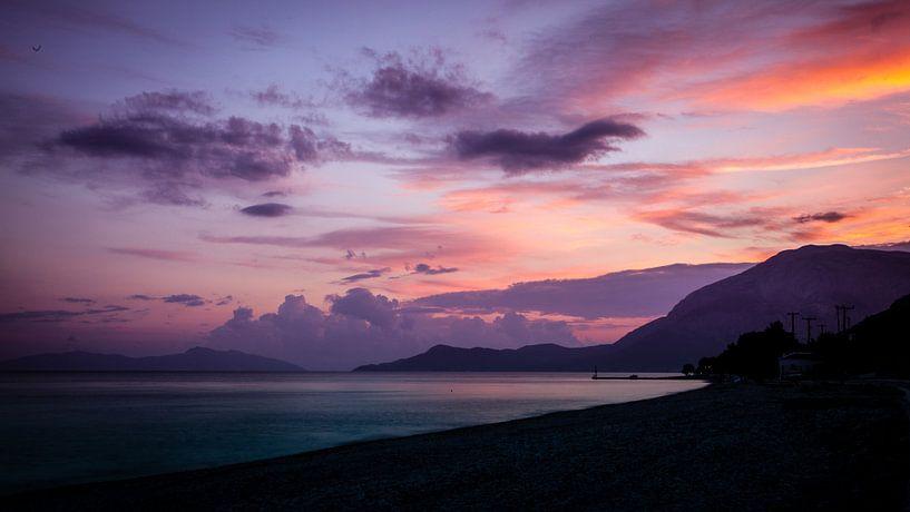 Zonsondergang op Samos van Victor van Dijk