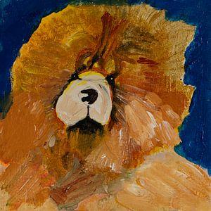 hond in grove streken van Freds Atelier