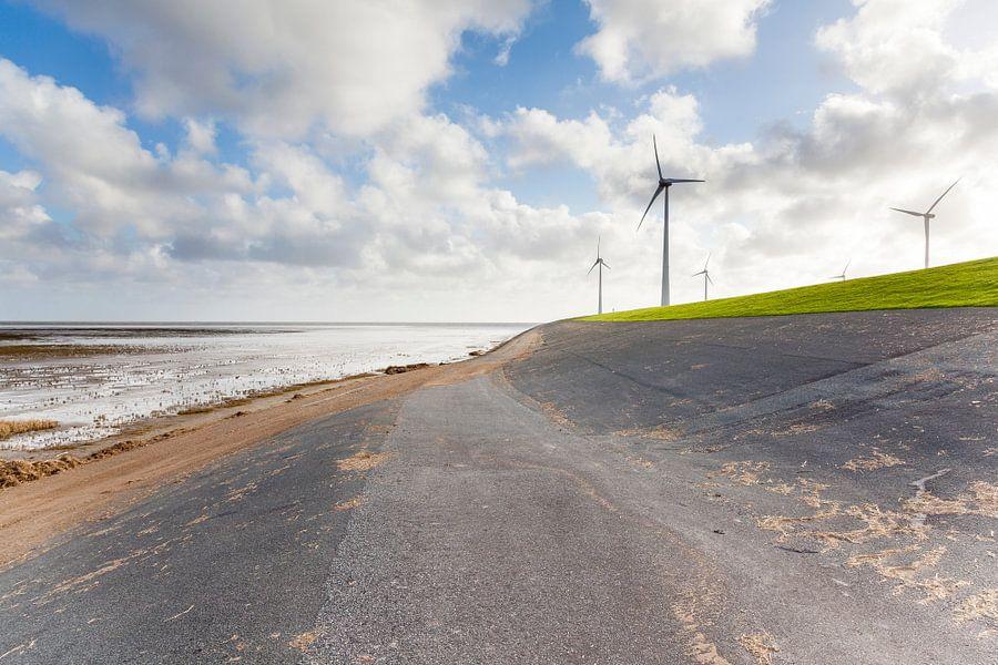 Windmolens aan de Waddenzeedijk bij de Eemshaven in Groningen / 2014