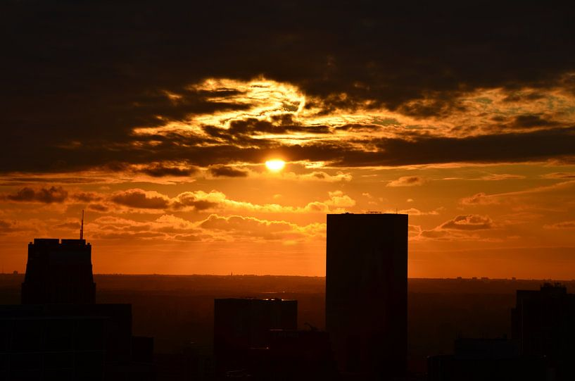 Rotterdam Center Sunset van Marcel van Duinen