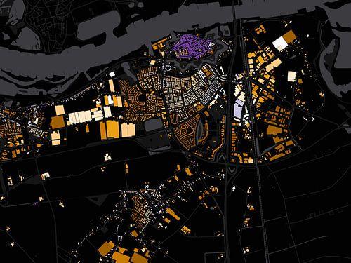 Kaart van Zaltbommel abstract van