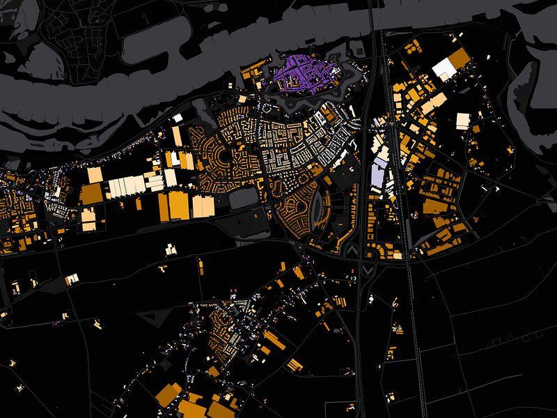 Kaart van Zaltbommel abstract van Stef Verdonk