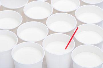 Weiße Tassen mit einem roten Stroh von Wijnand Loven