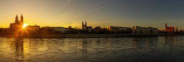Magdeburg Skyline Panorama im Sonnenuntergang von Frank Herrmann