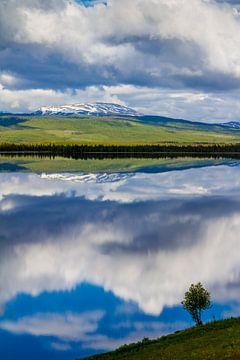 Reflectie op het meer in Jämtland Zweden  van Hamperium Photography