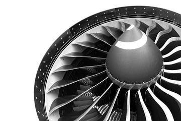 Le moteur GE 90 d'un Boeing 777-200LR en noir et blanc sur Martin Boschhuizen